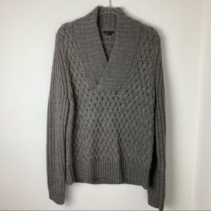 Theory Sweater Wool Alpaca Pullover Gray Brown